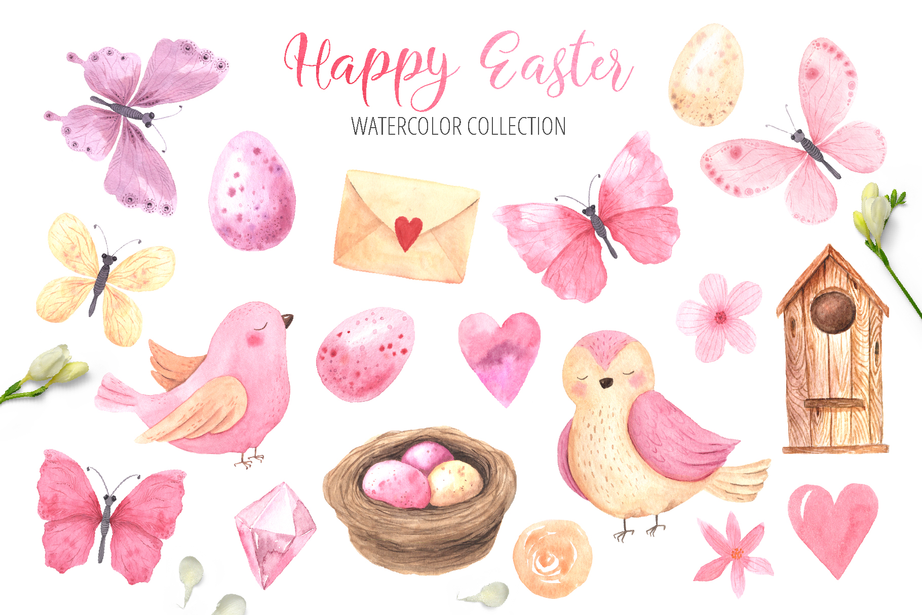 Watercolor Happy Easter Collection example image 4