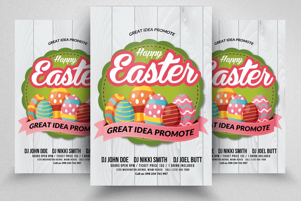 10 Easter Egg Psd Flyer Print Template Bundle example image 2