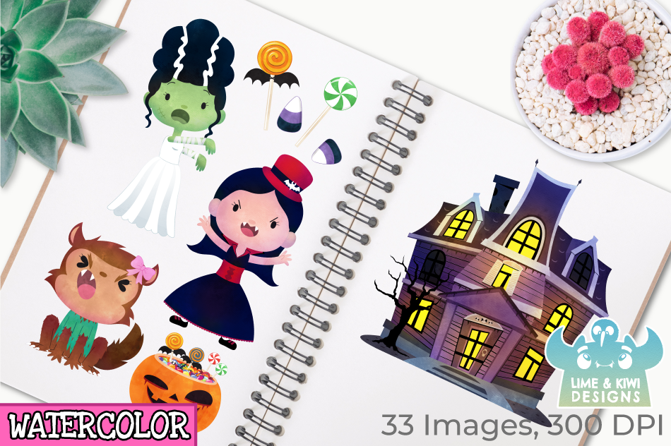 Halloween Trick Or Treaters Girls Watercolor Clipart example image 3