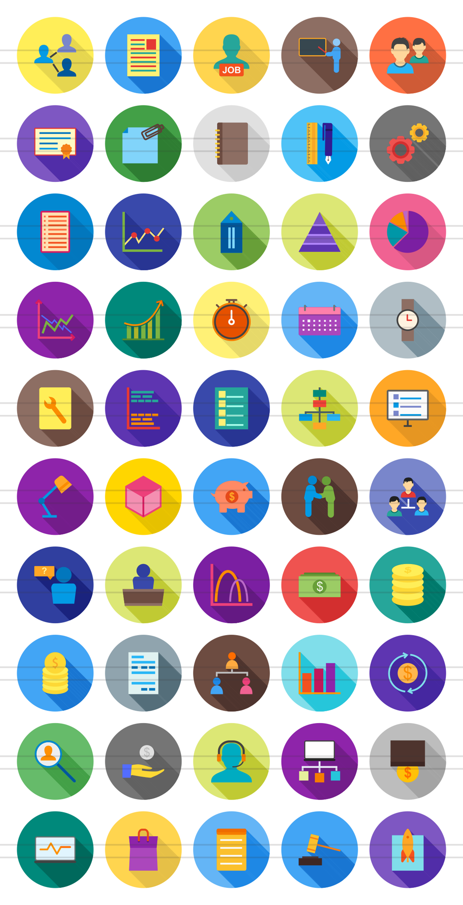 50 Business Management Flat Long Shadow Icons example image 2