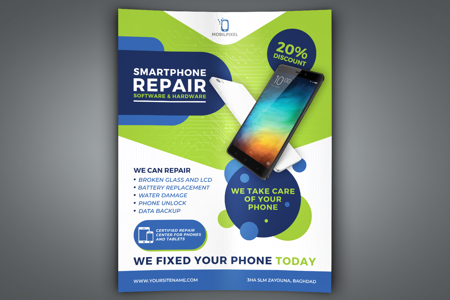 Smartphone Repair Service Flyer Template example image 1
