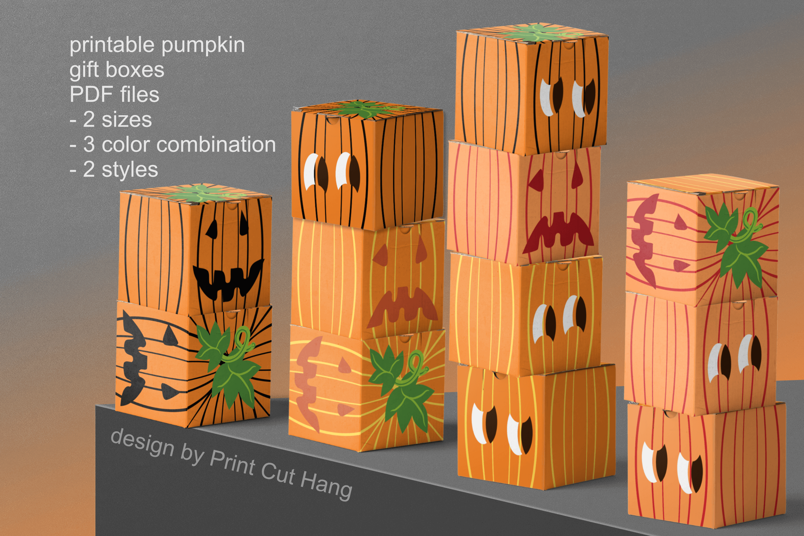 Pumpkins Treat Boxes Templates PDF files - 2 size - 2 style example image 1