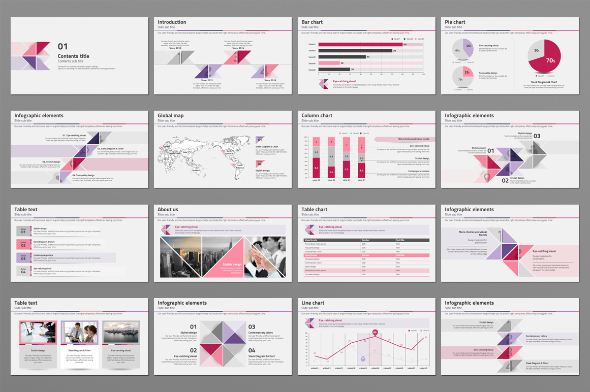 Triangle Pattern PPT Template example image 3