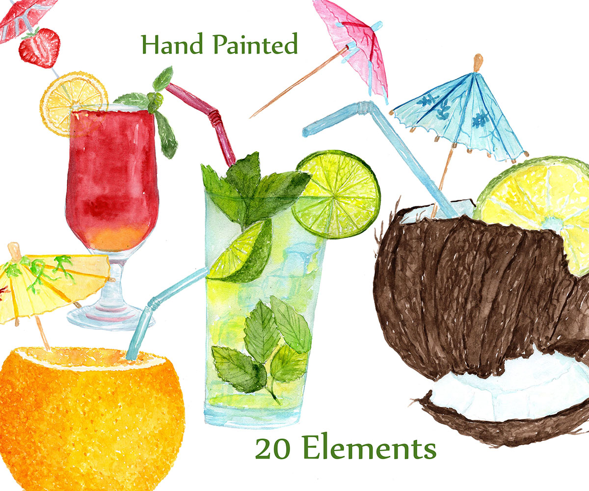 Watercolor Cocktails clipart example image 4
