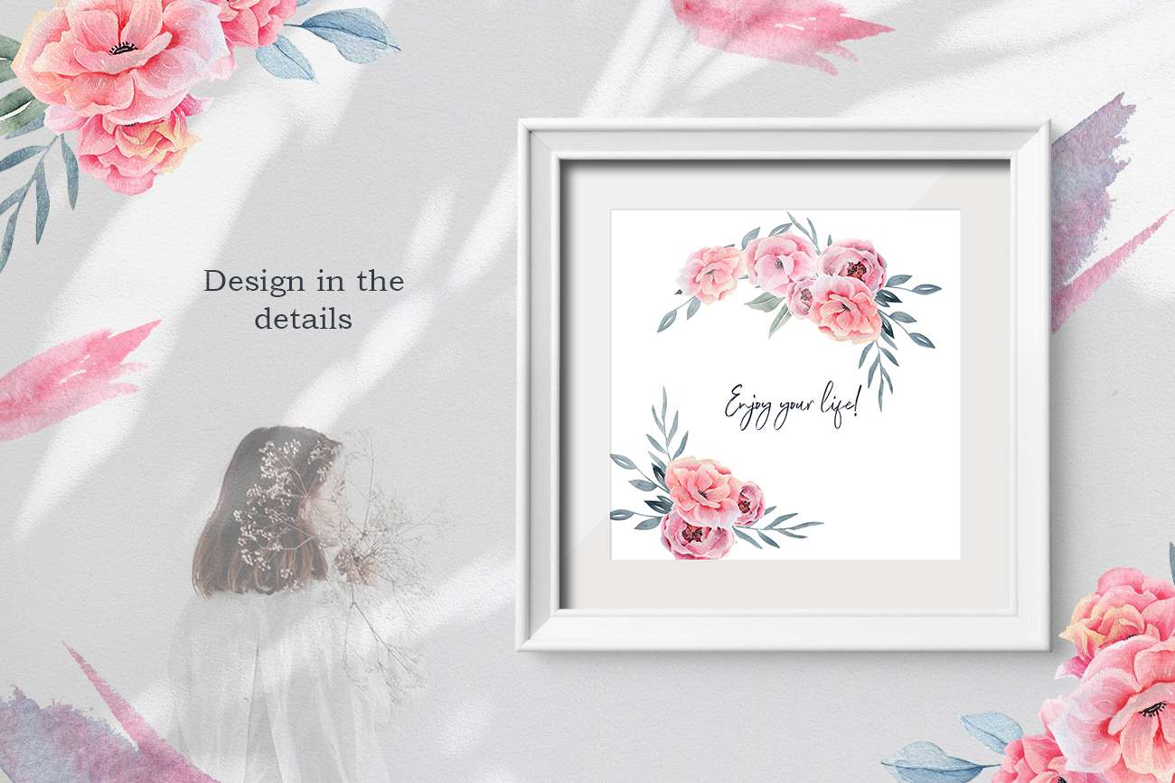 Watercolor Floral map, Spring pink flowers clipart, peony example image 3