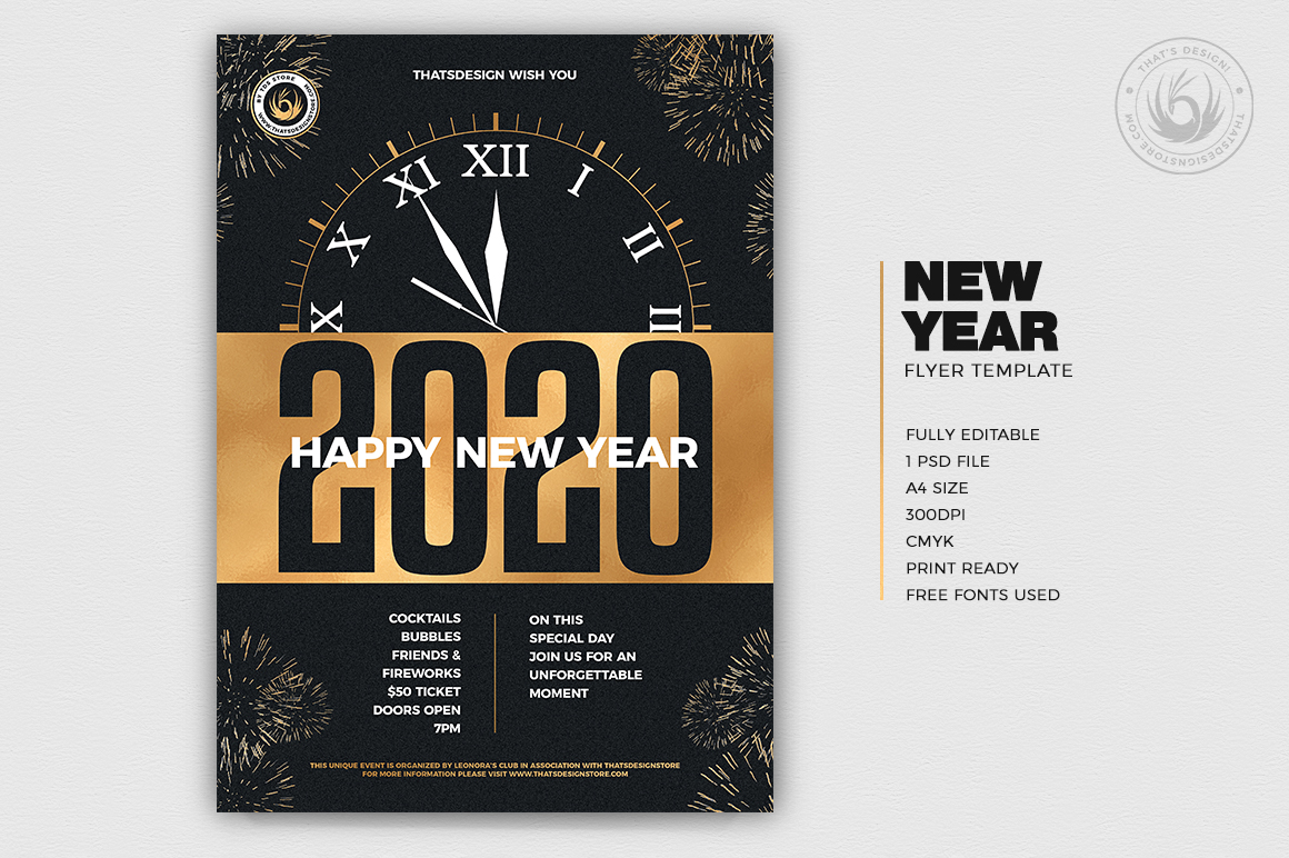 New Year Flyer Template V10 example image 2