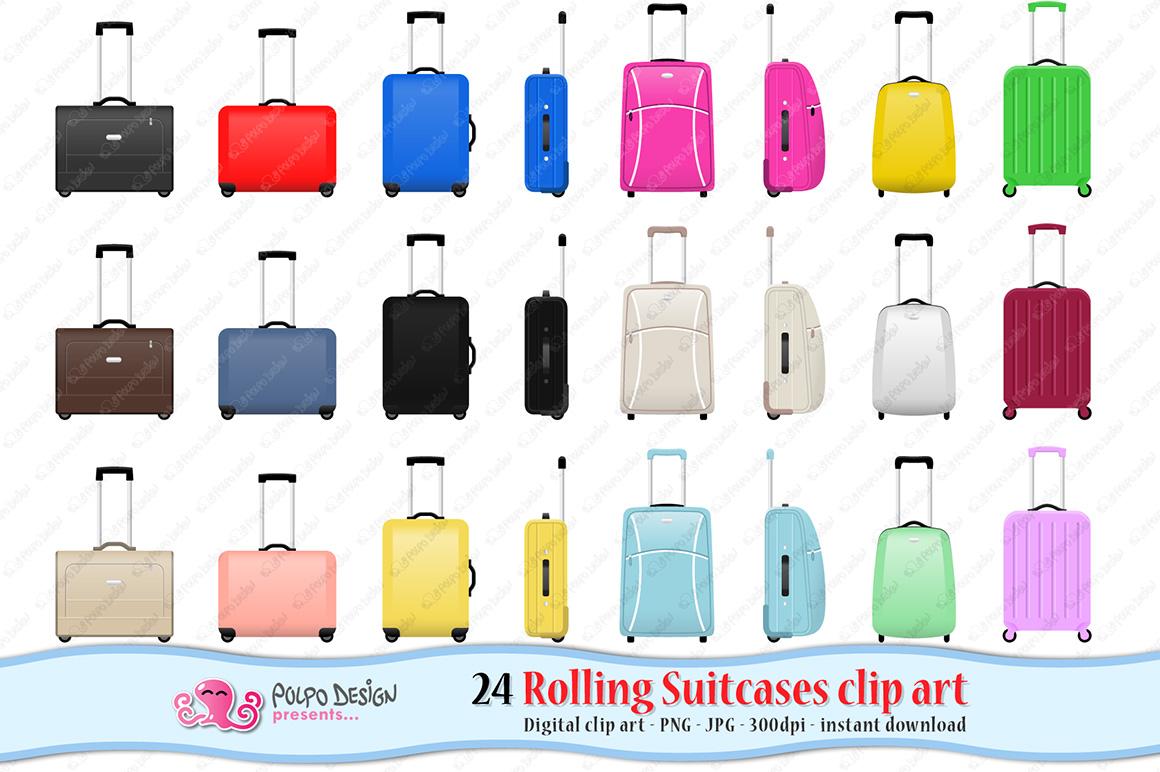 Rolling Suitcase clipart example image 1