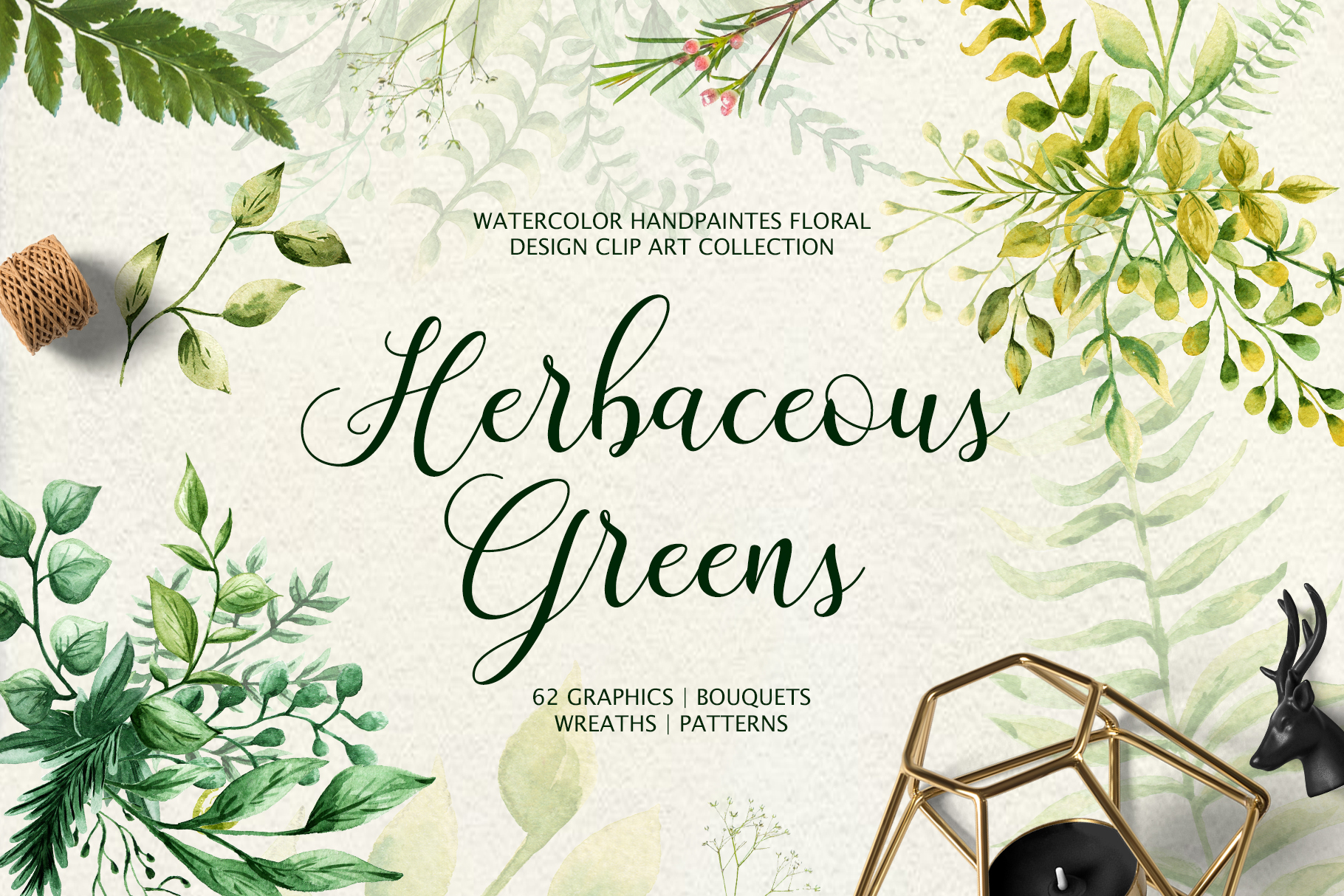 Herbaceous Greens-watercolor set example image 1