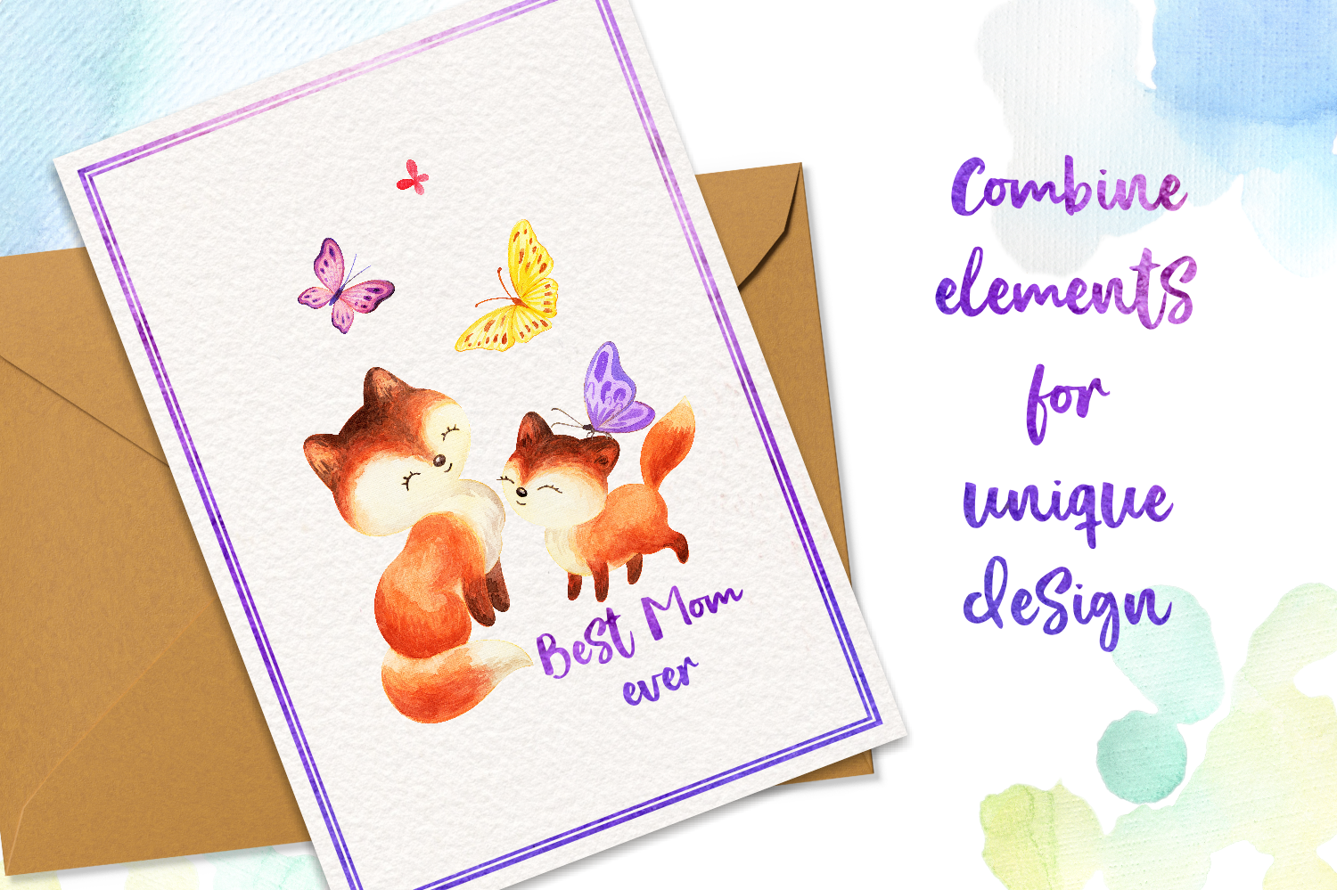 Mom's tenderness. Watercolor foxes and butterflies example image 5