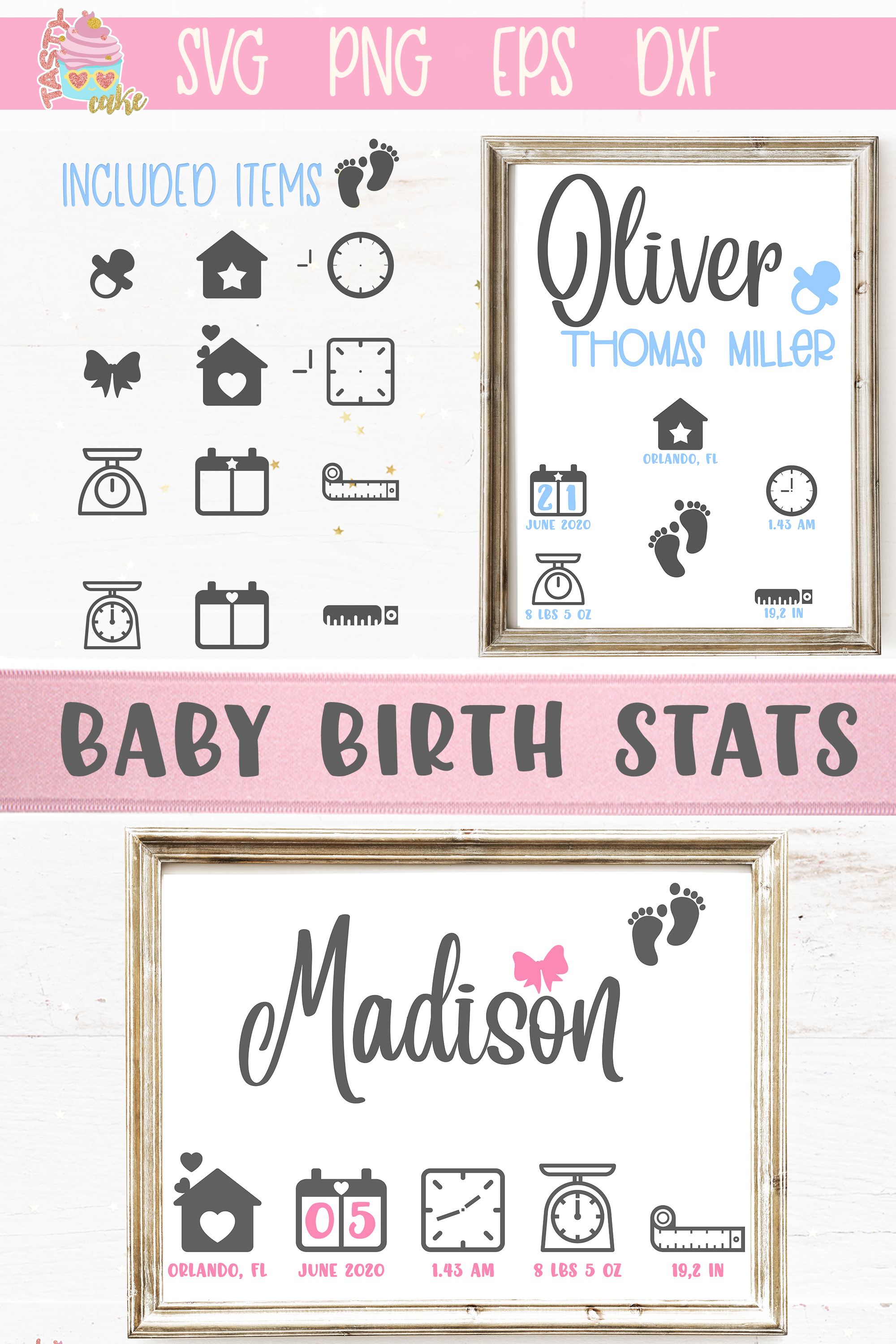 Baby Birth Stats SVG - Birth Announcement Template example image 3