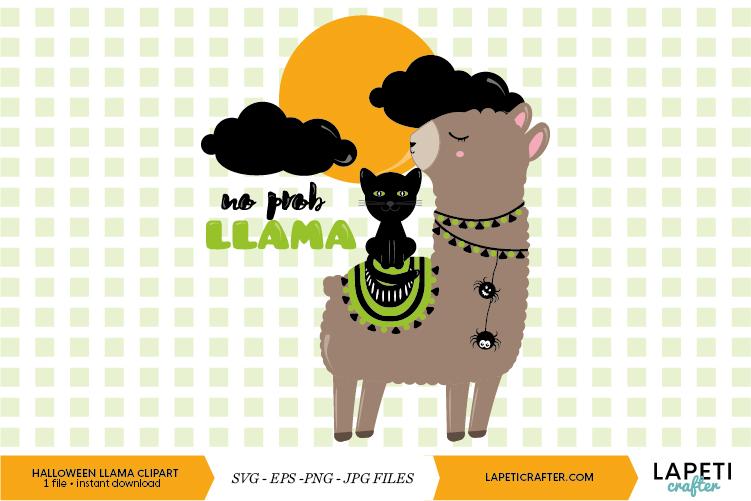 Halloween llama clipart, funny llama digital clipart example image 1