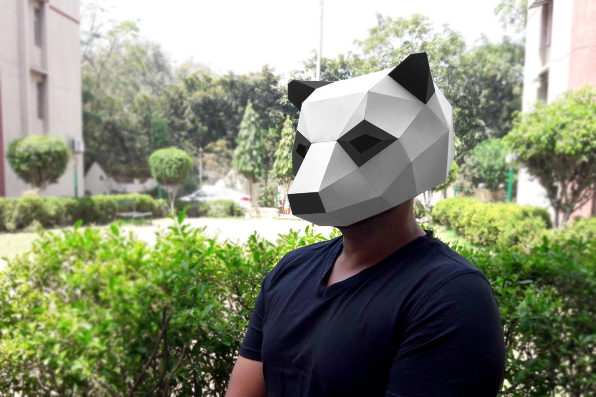DIY Panda Mask - 3d papercraft example image 4
