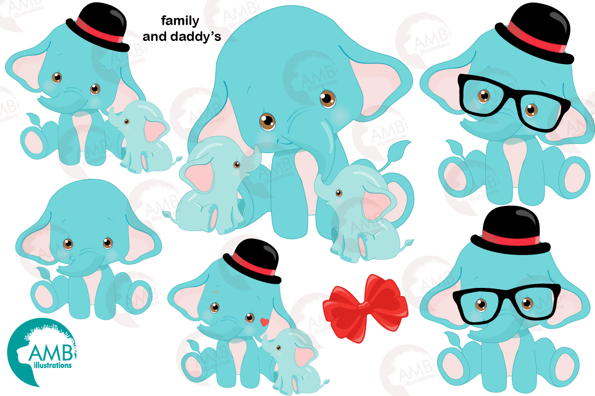 BABY ELEPHANT BUNDLE! 53 cliparts, graphics and illustrations and Patterns AMB-2273 example image 5