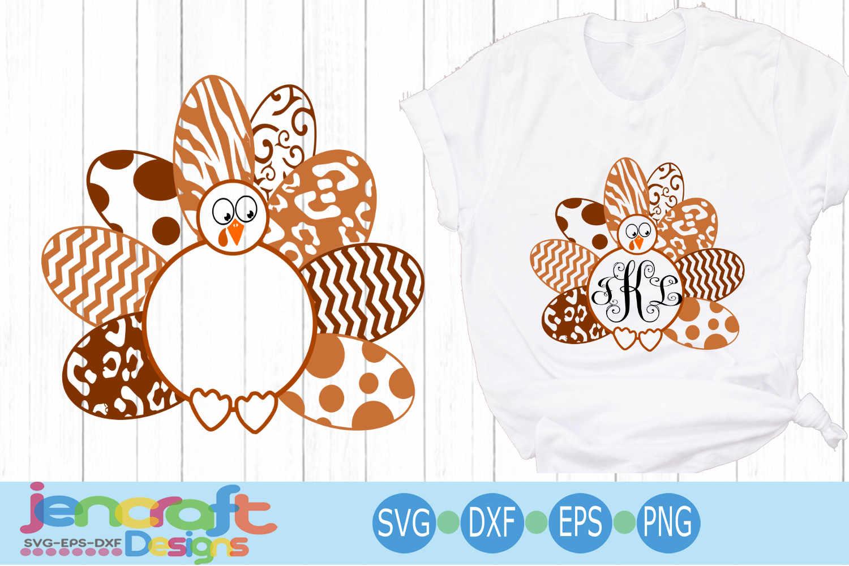 Layered Turkey SVG, Patterned Monogram Frame Thanksgiving example image 1