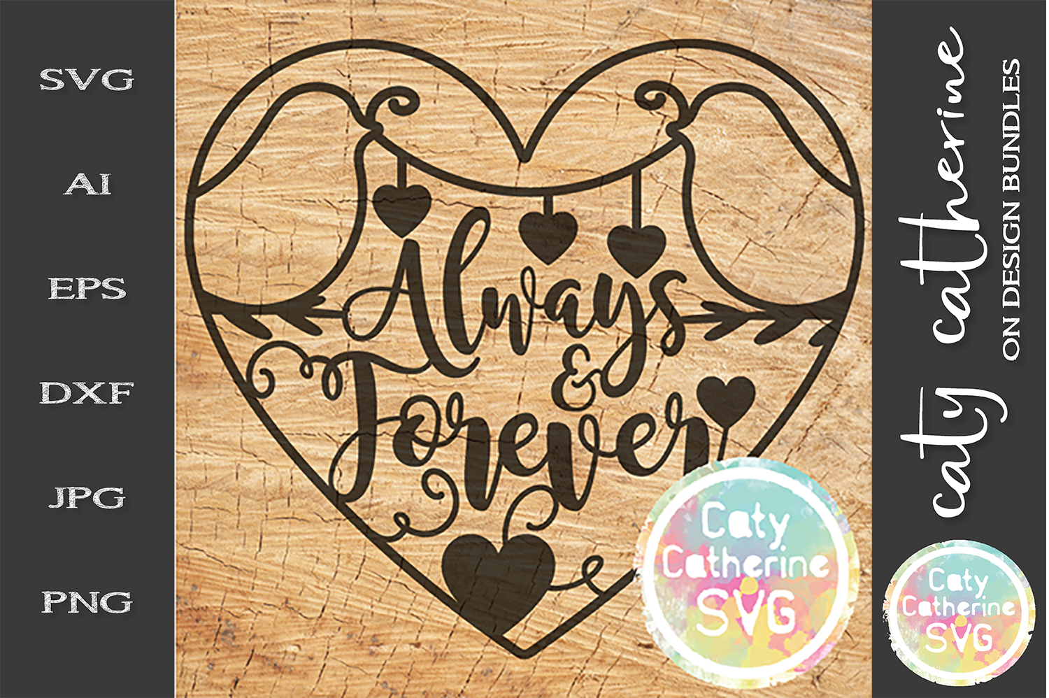 Always & Forever SVG Cut File Love Birds SVG Cut File example image 1