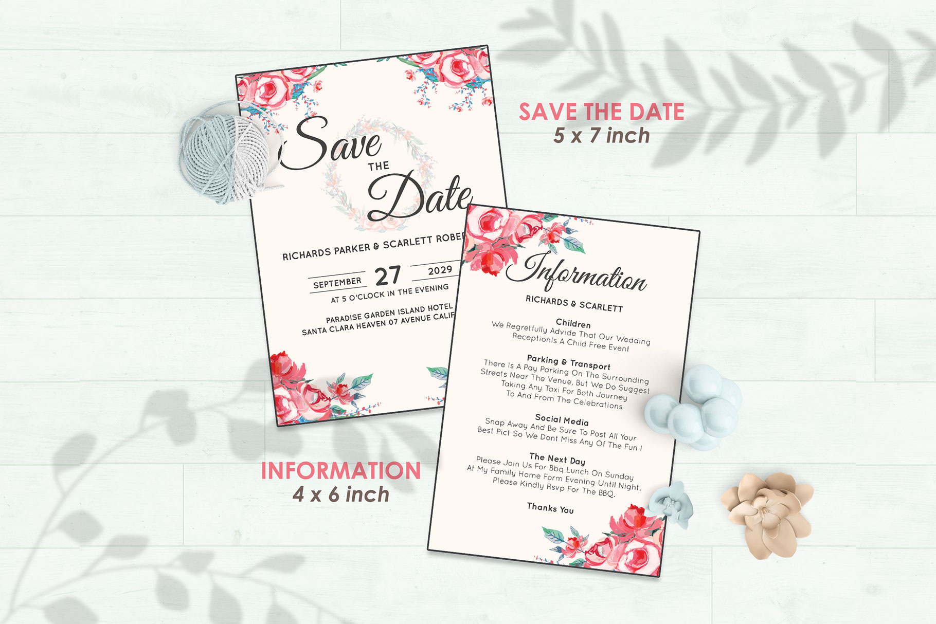 Wedding Invitation Set #11 Watercolor Floral Flower Style example image 3