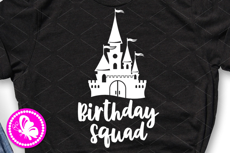 Birthday squad svg Castle palace clip art Cricut Silhouette example image 1