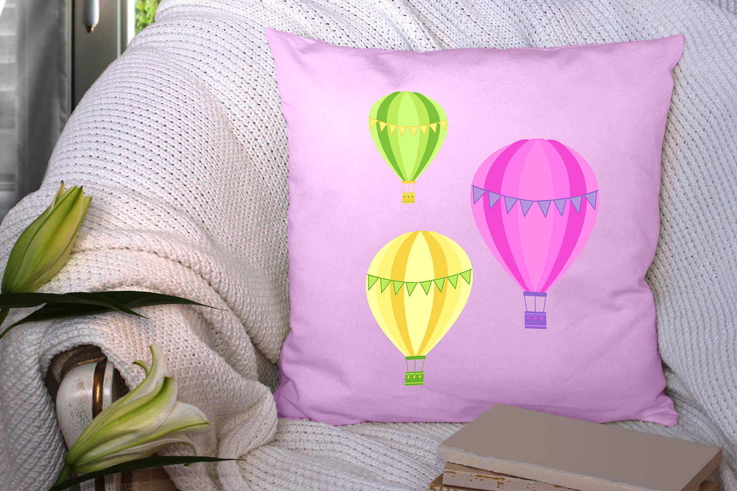 Hot Air Balloons and Kites Summer Clipart Bundle example image 4