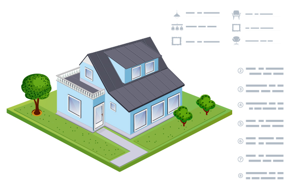House isometric vector illustration example image 1