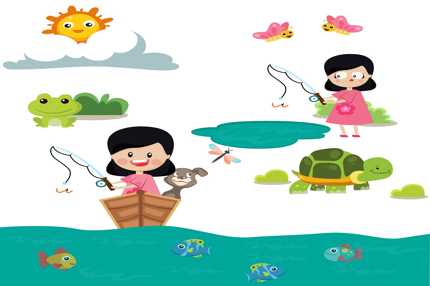Girl Spring Fishing illustration Vector Pack example image 1