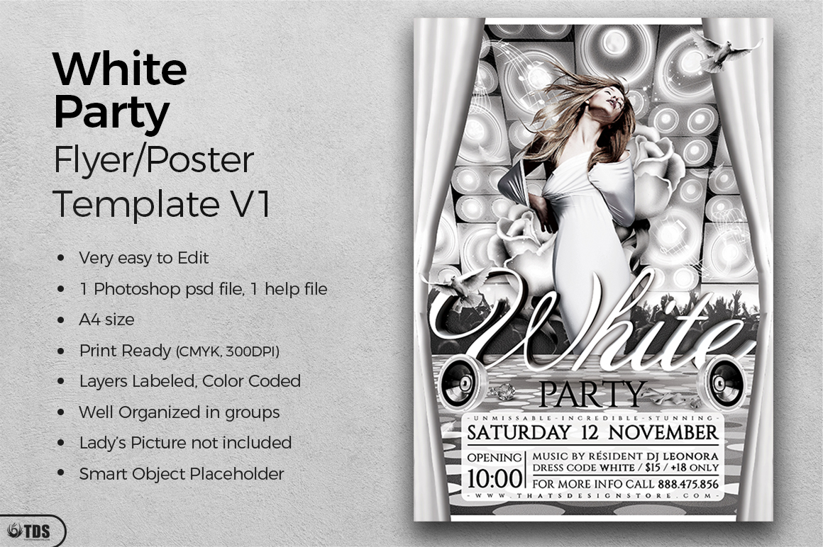 White Party Flyer Template V1 example image 2