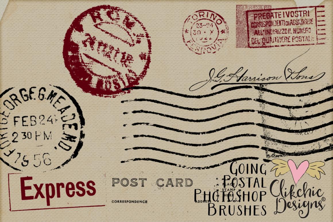Going Postal Vintage Postage Marks Photoshop Brushes example image 4