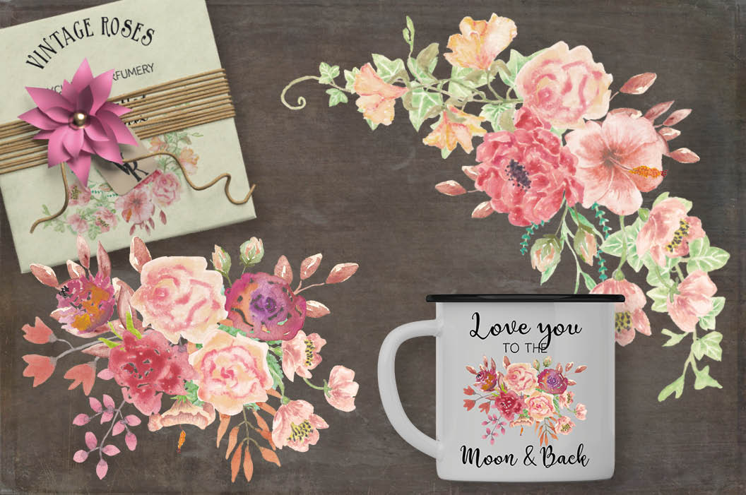 Watercolor clip art bundle: Vintage roses example image 3