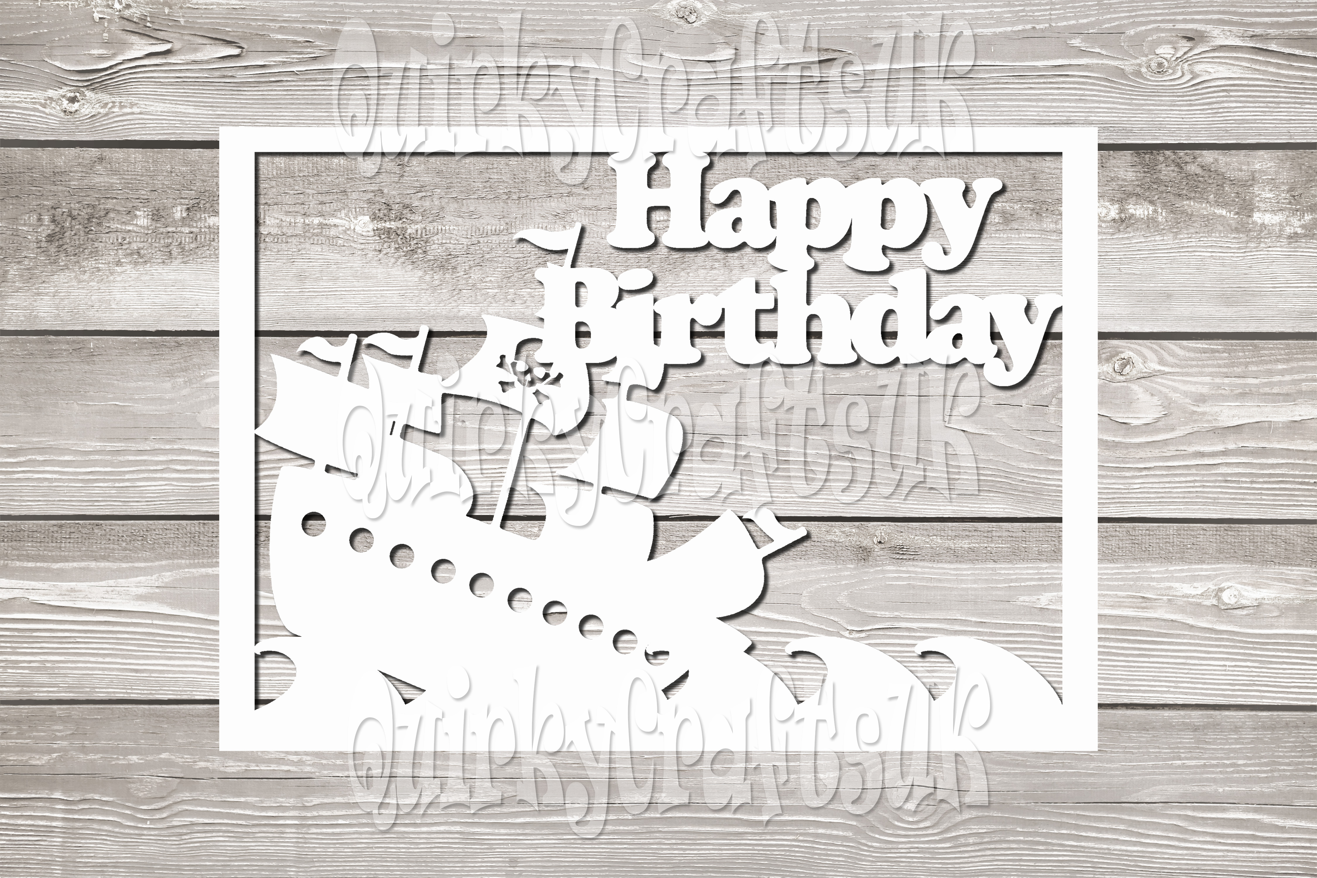 Happy birthday Pirate Ship/SON papercutting templates|PNG/PD example image 1