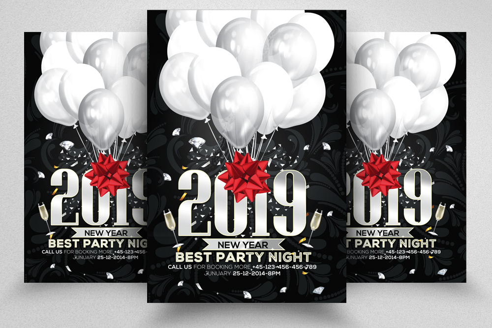 4 New Year Party Flyers Bundle example image 4