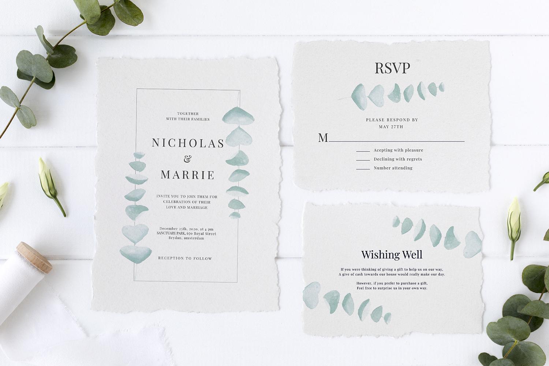 Eucalyptus Wedding Invitation Suite example image 1