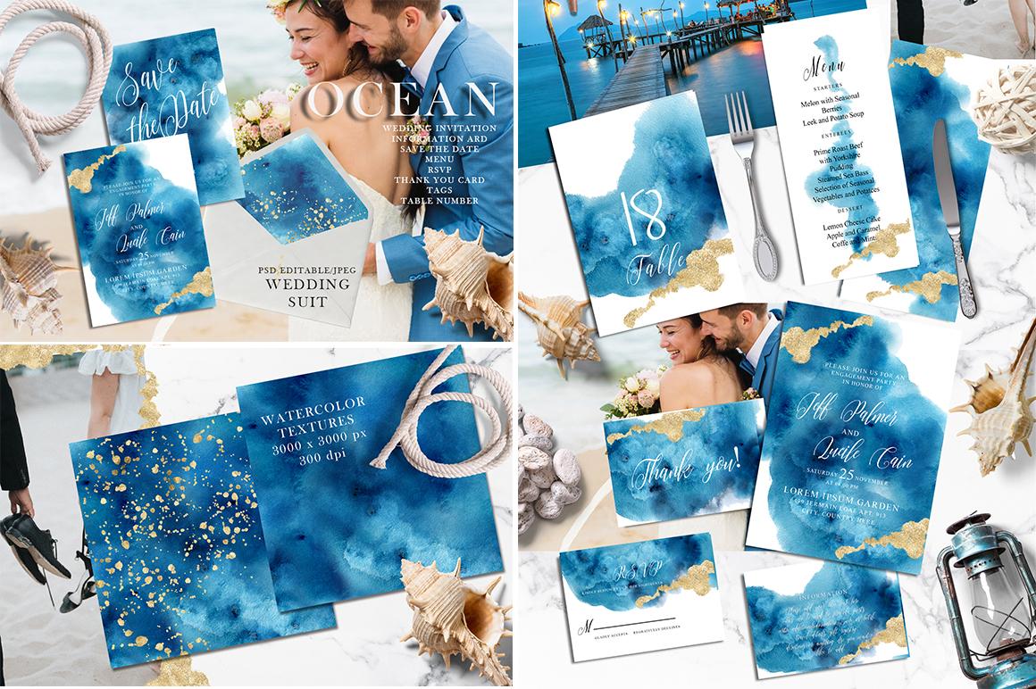 Watercolor Wedding Invitations Suits. GIANT BUNDLE example image 3