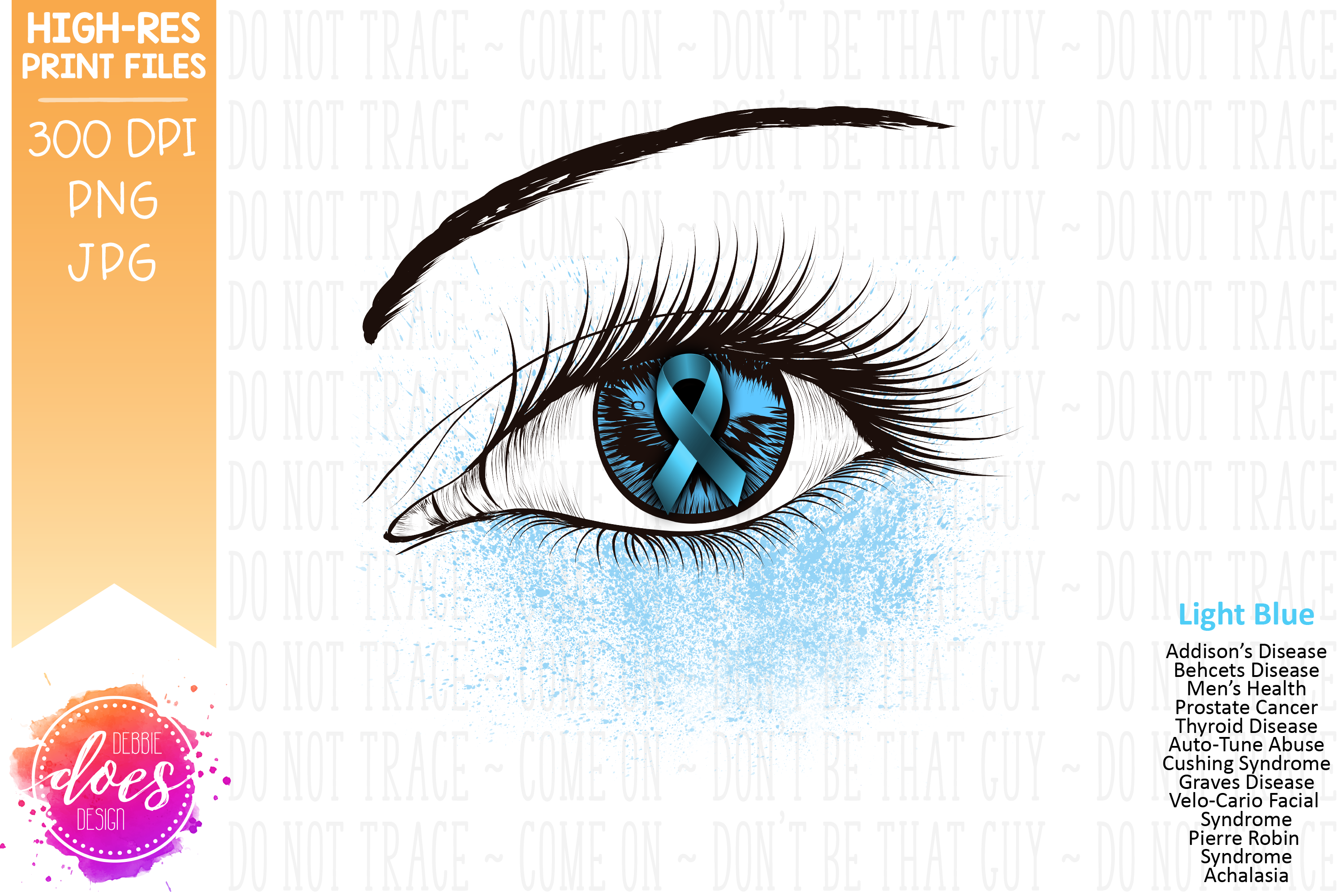 Light Blue Awareness Ribbon Eye - Printable Design example image 2