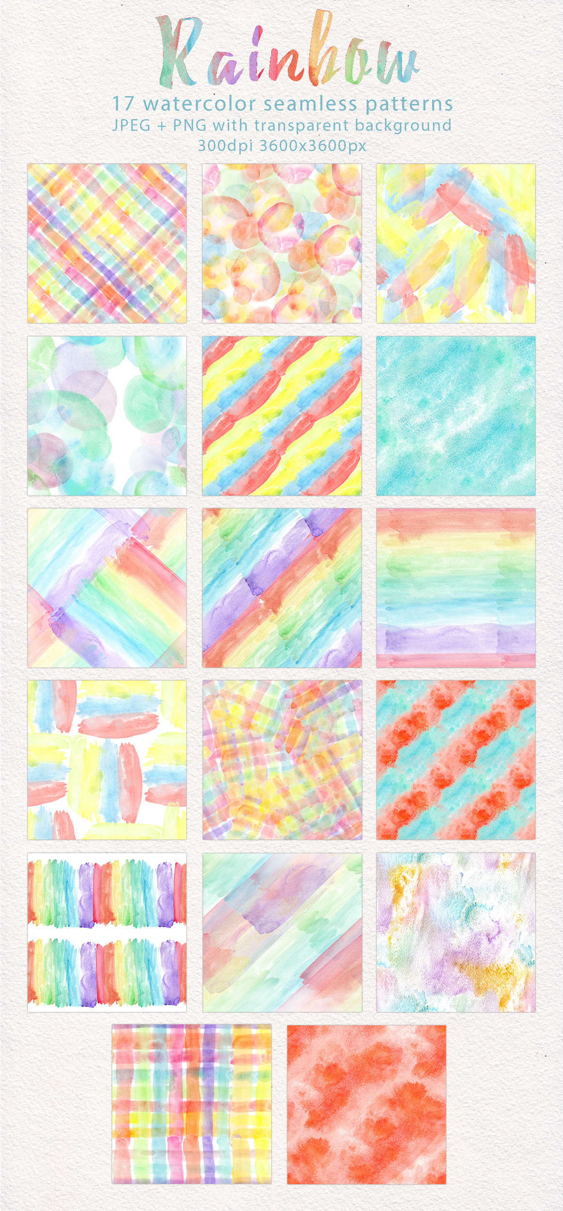 Rainbow watercolor seamless pattern example image 2