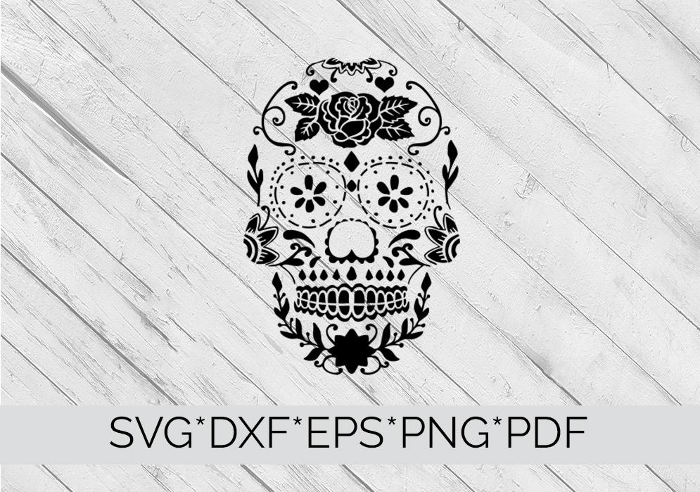 Sugar Skull Stencil SVG Cutting File example image 2