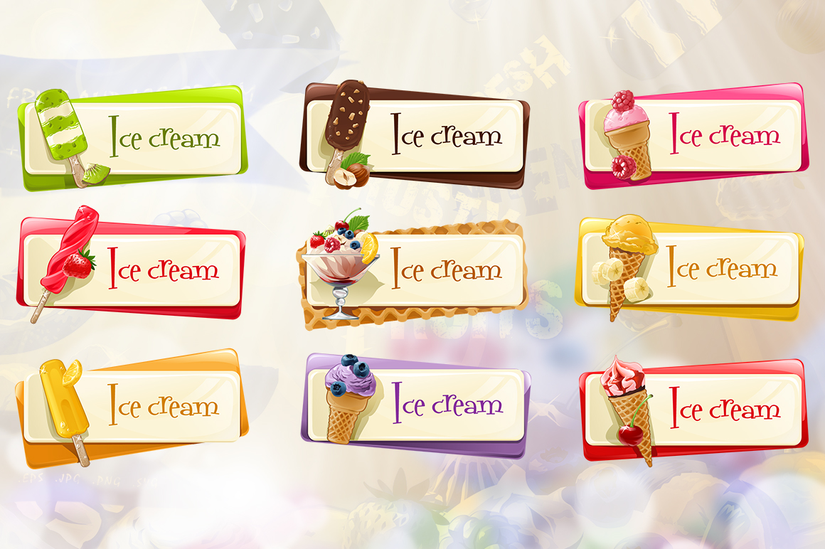 Set of summer ice cream labels. example image 3