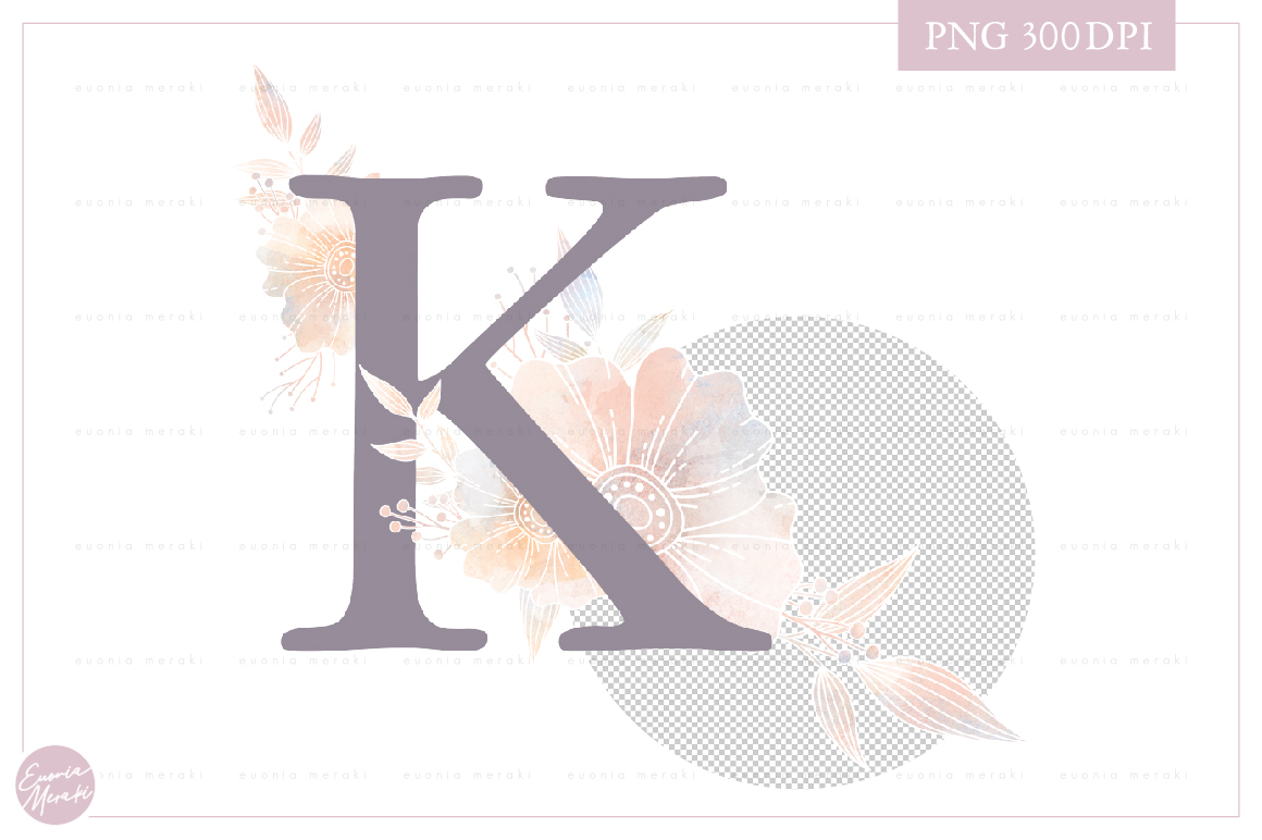 Letter K Floral MONOGRAM - dusty color flower initial example image 2