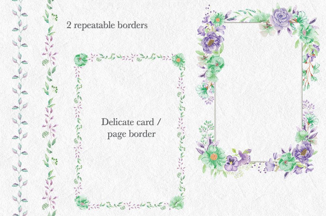 'Violet and Mint': watercolor clip art bundle example image 7