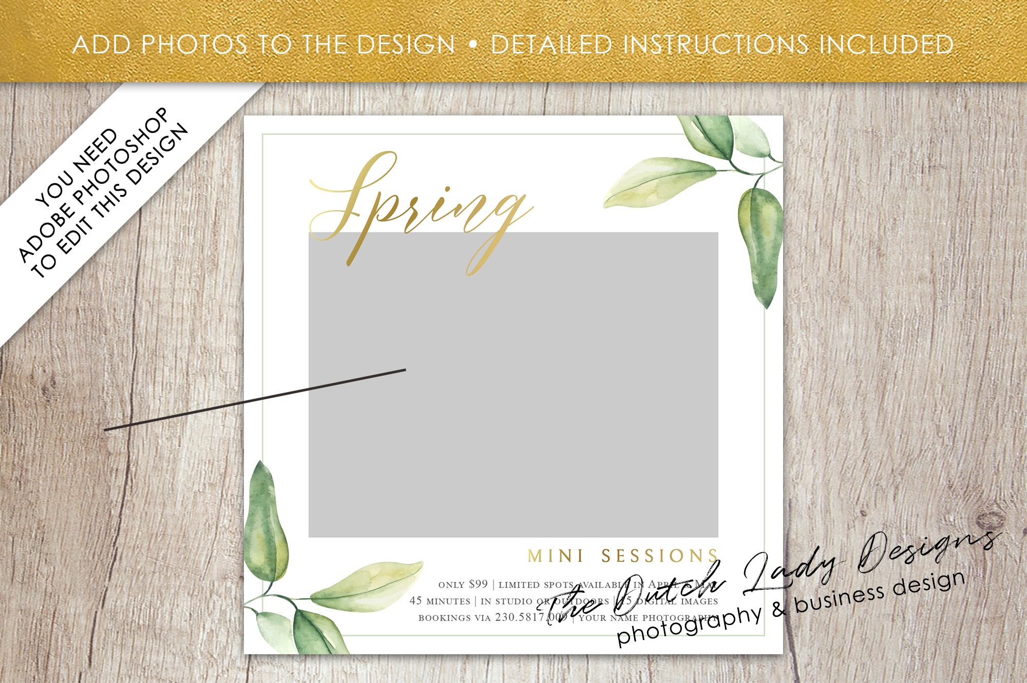 PSD Spring Photo Session Card Template - Design #35 example image 2