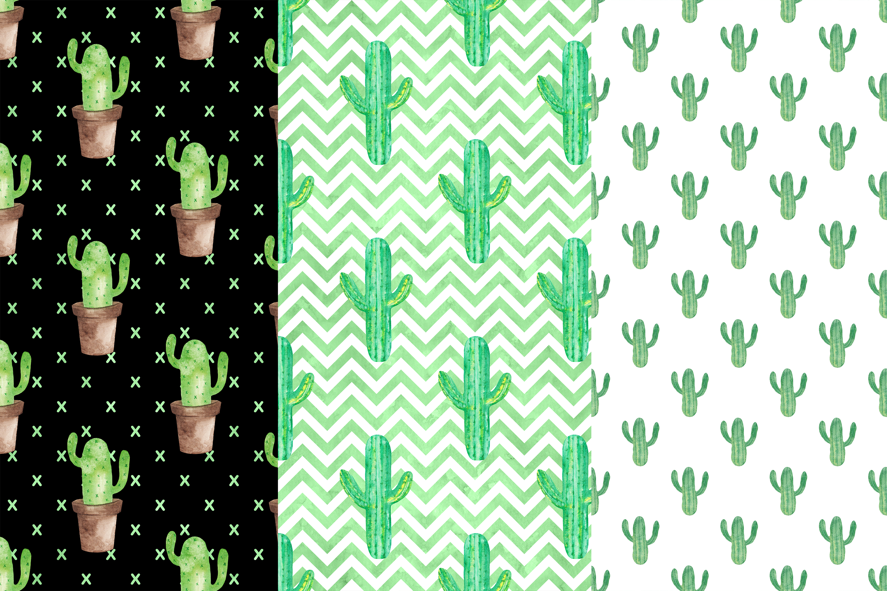 Watercolor Cactus Digital Papers, Cactus Patterns example image 2