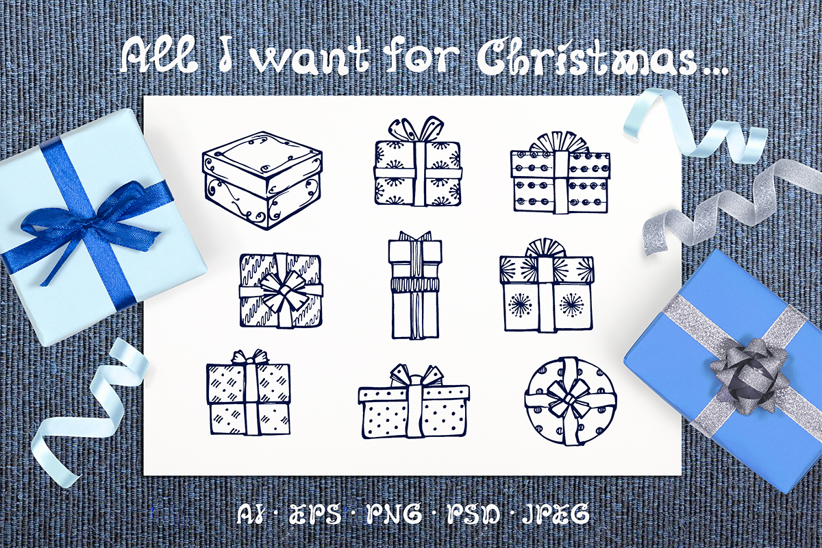 9 hand drawn Christmas gift boxes example image 1