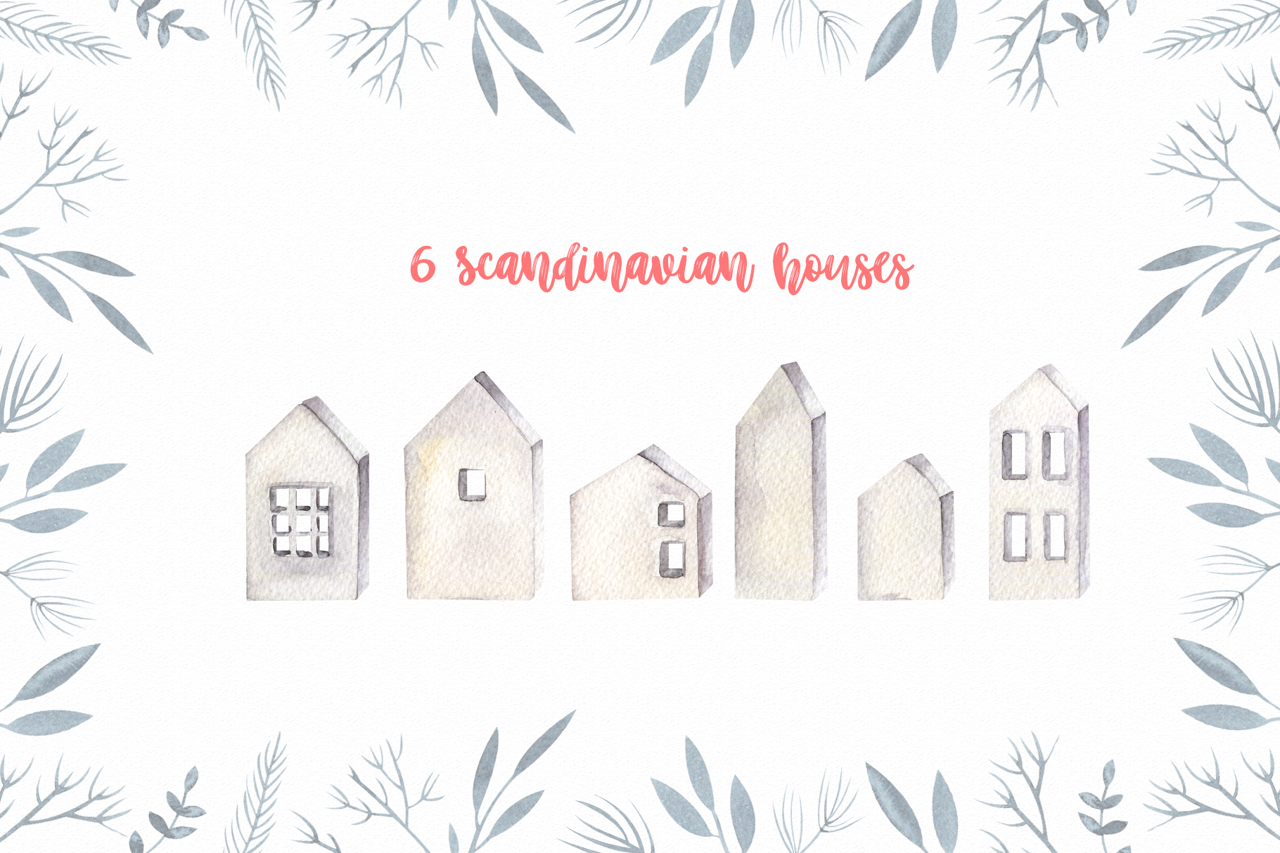 Winter Scandinavian Elfs, Nordic decor clipart watercolor example image 5