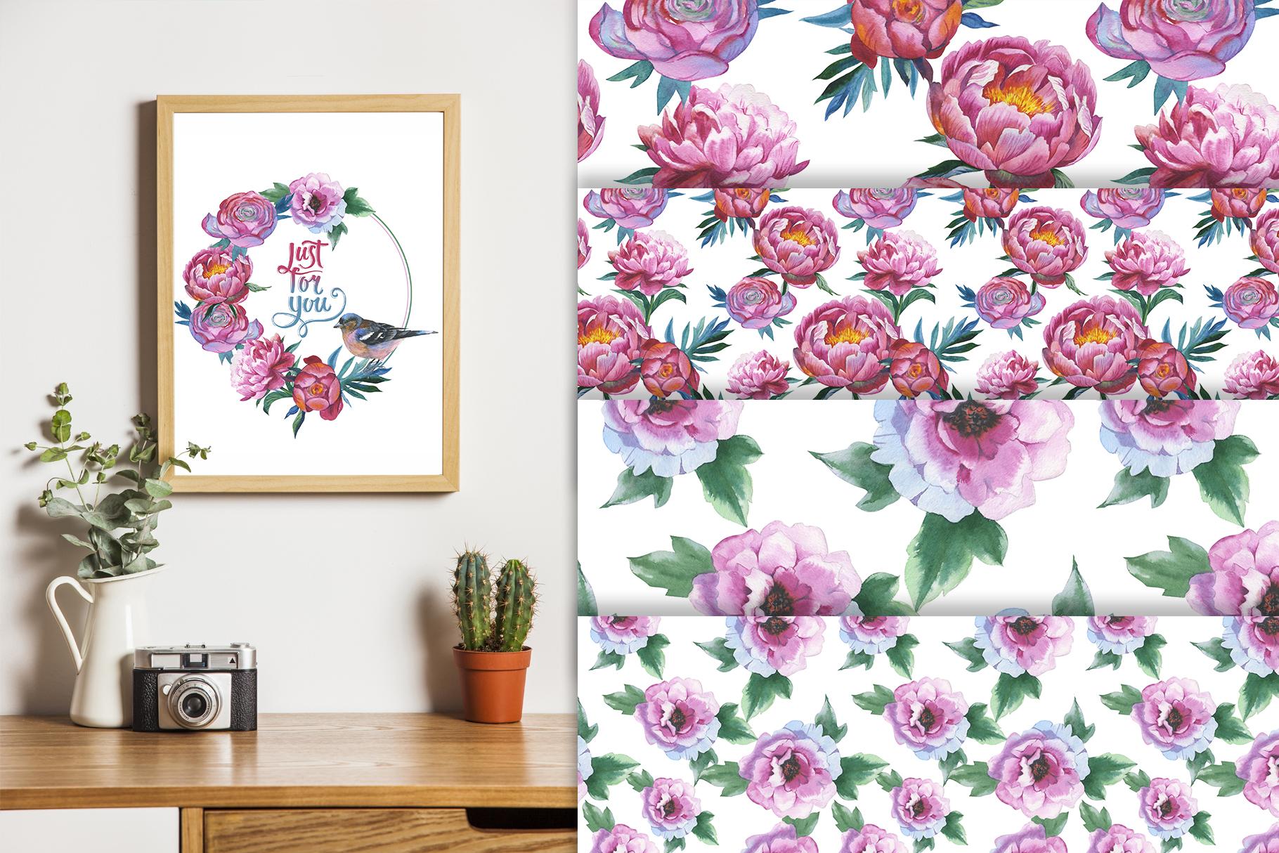 Colorful peonies JPG watercolor flower set  example image 5