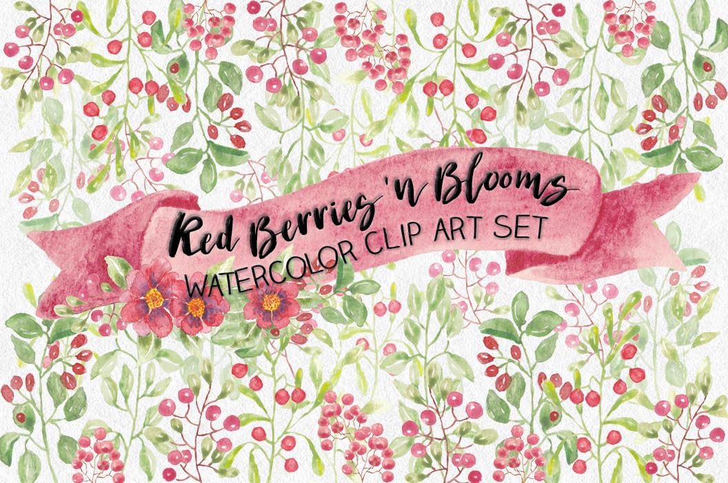Watercolor clip art bundle: red berries 'n blooms example image 1