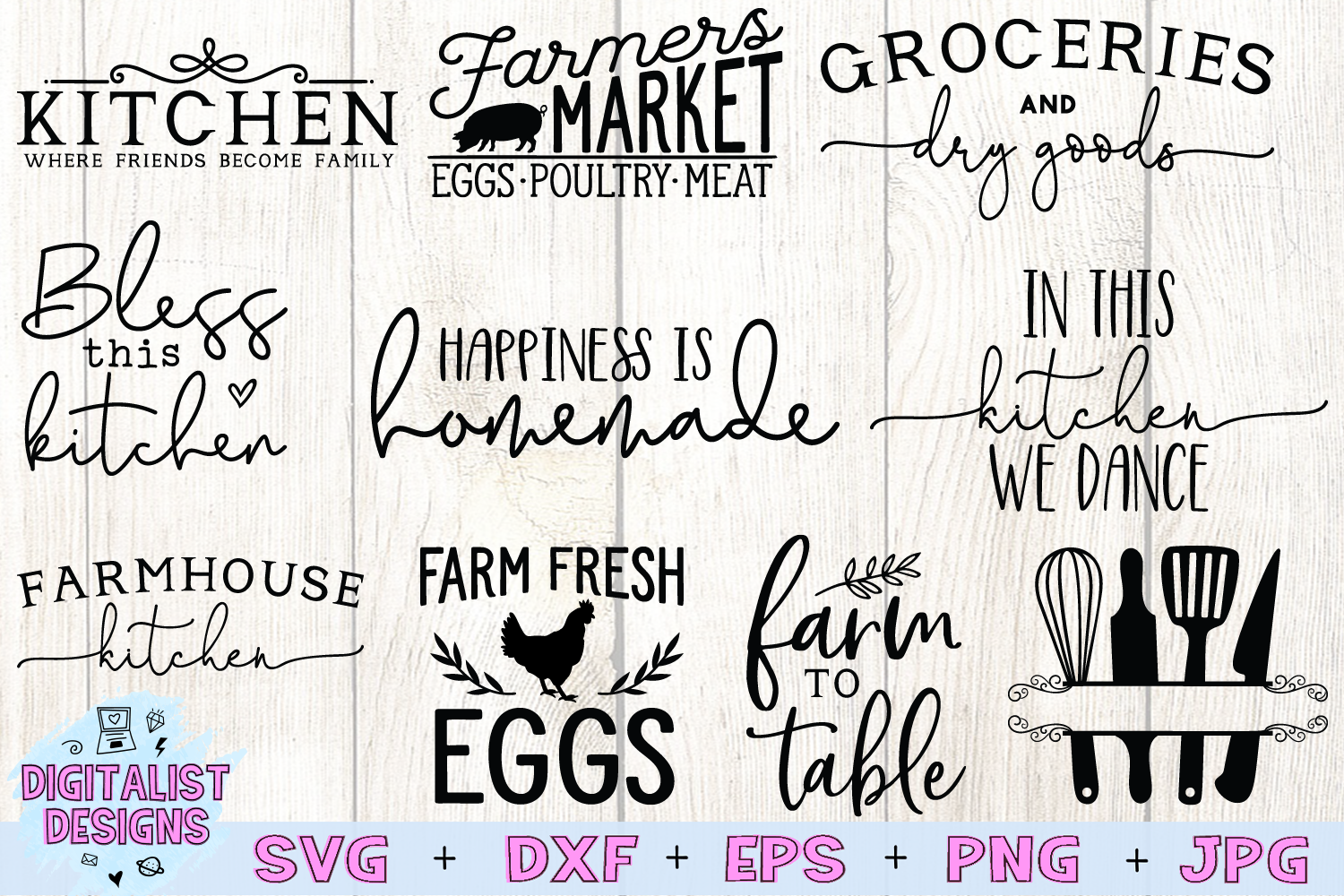 Kitchen Quotes SVG Bundle | 20 Farmhouse Sign SVGs example image 2