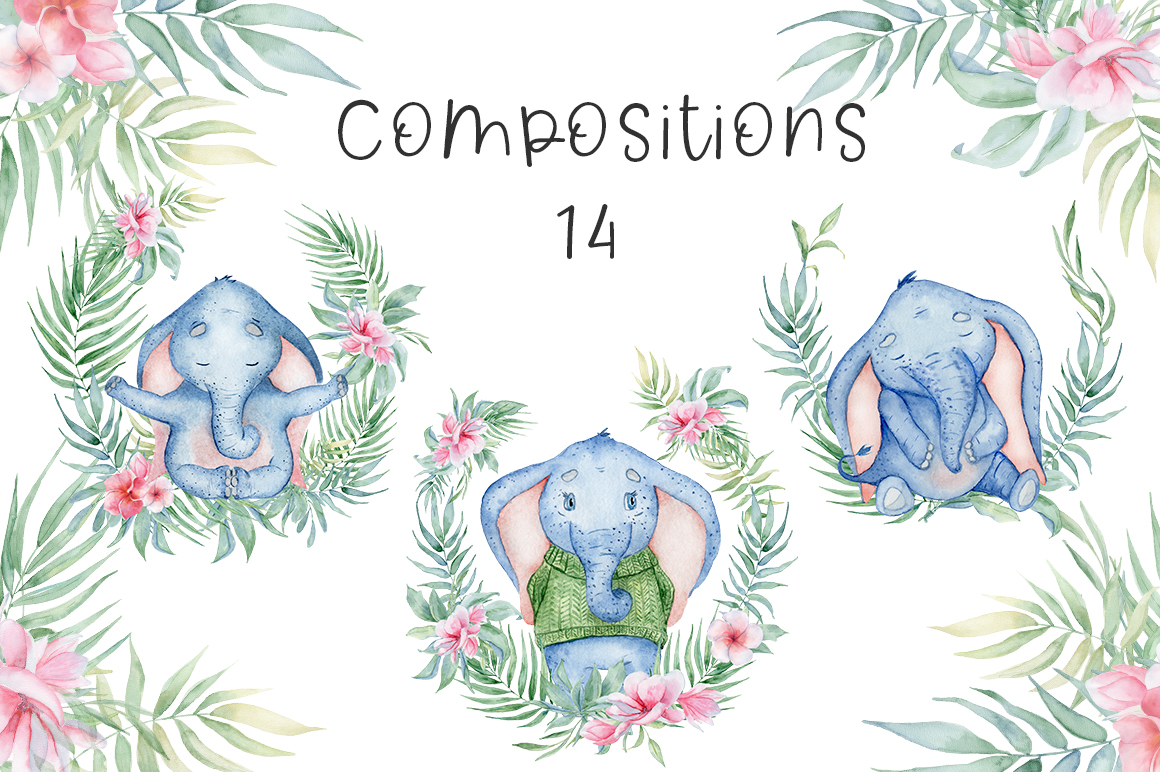 Lovely Elephants Watercolor set animals clipart example image 9