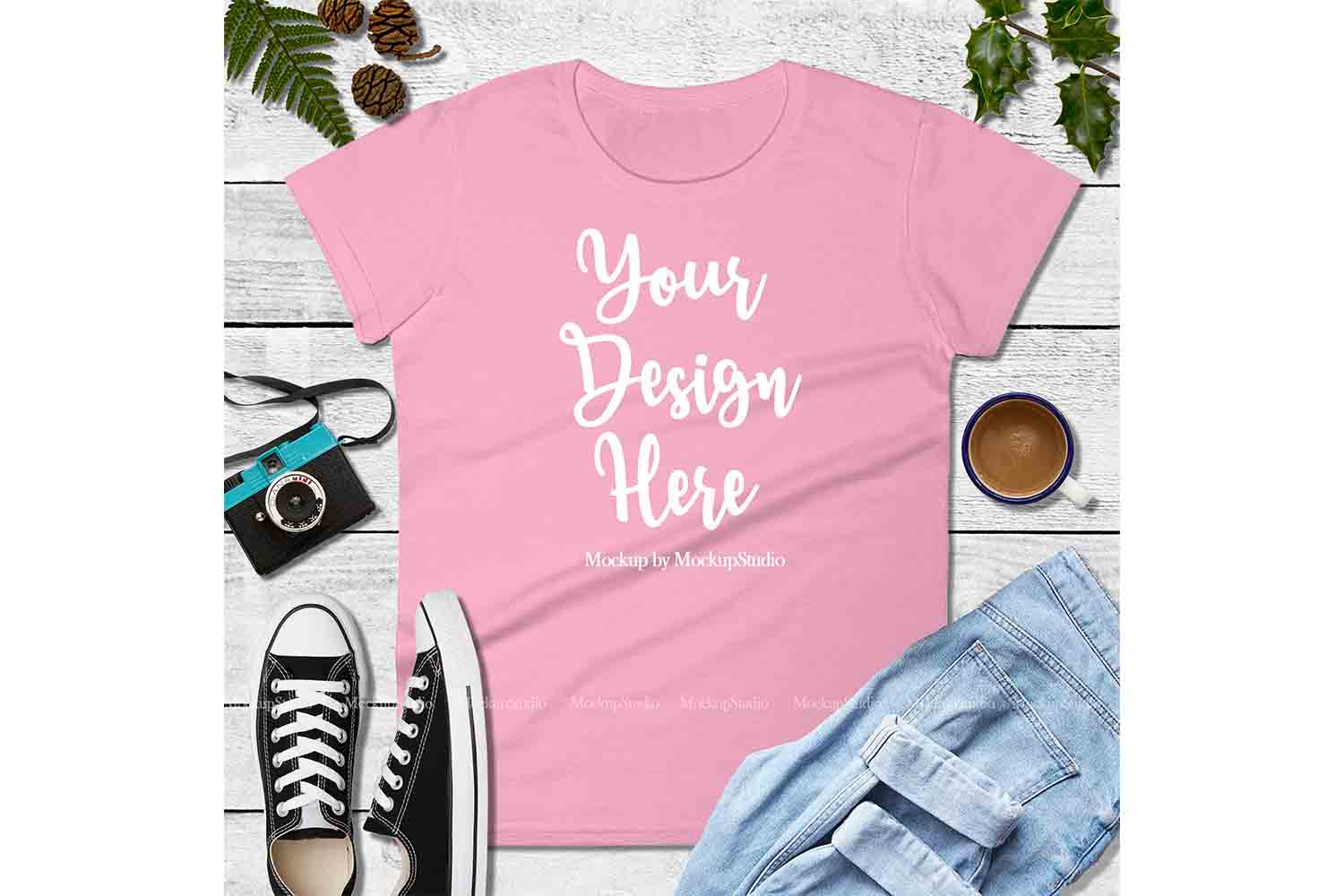 Pink Shirt Mock Up, Anvil 880 Tshirt Mockup, Tee Flat Lay example image 1