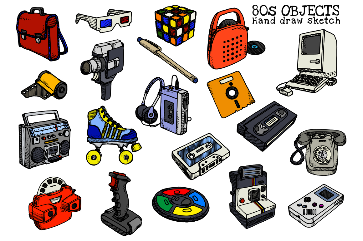 80s Objects hand draw vector example image 3