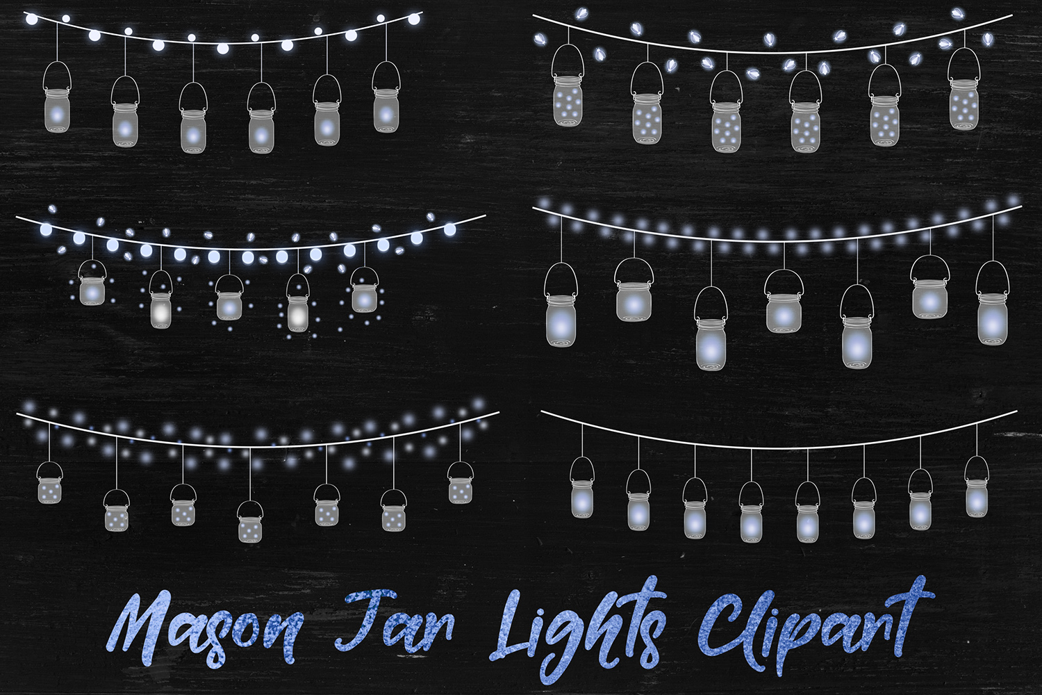 Mason Jar Lights Clipart example image 1