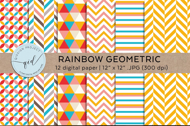 Rainbow Geometric Digital Paper Pattern example image 3