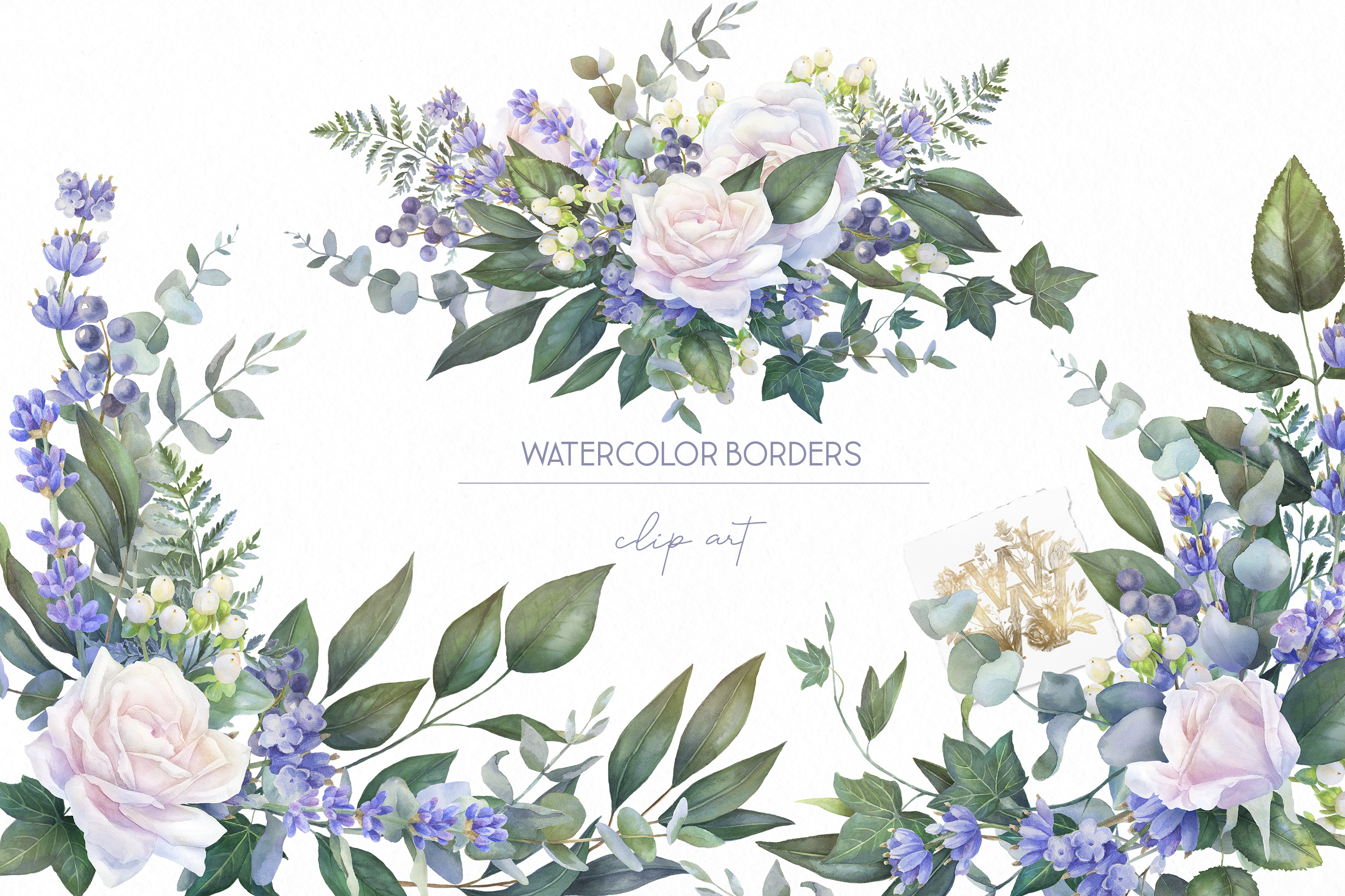 White rose border clip art, watercolor floral wedding frame example image 7